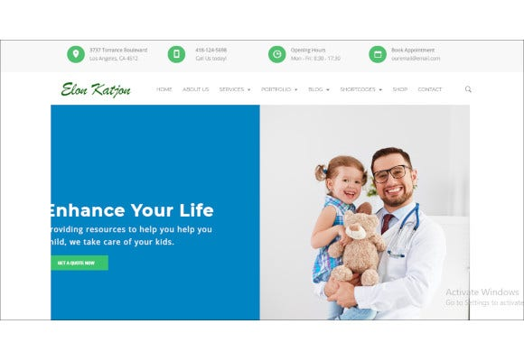 child care medical wordpress website template