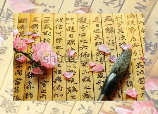 chinese alphabet letters on ancient bamboo