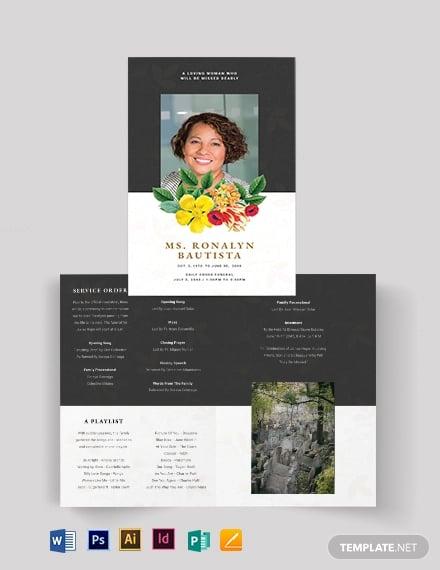 christian eulogy funeral bi fold brochure template