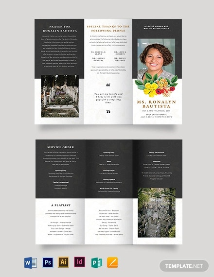 christian eulogy funeral tri fold brochure template