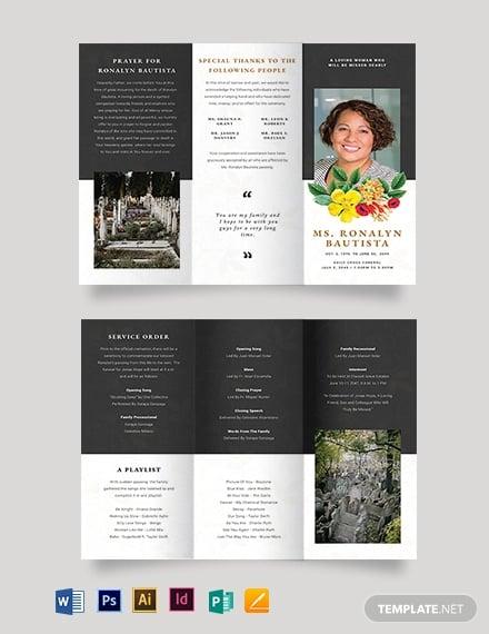christian eulogy funeral tri fold brochure template