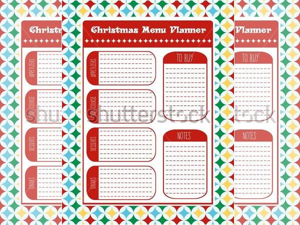 christmas menu planner vector