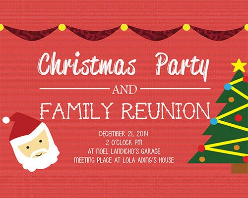 Christmas Party And Family Reunion Invitation Template  Family Reunion Invitation Cards
