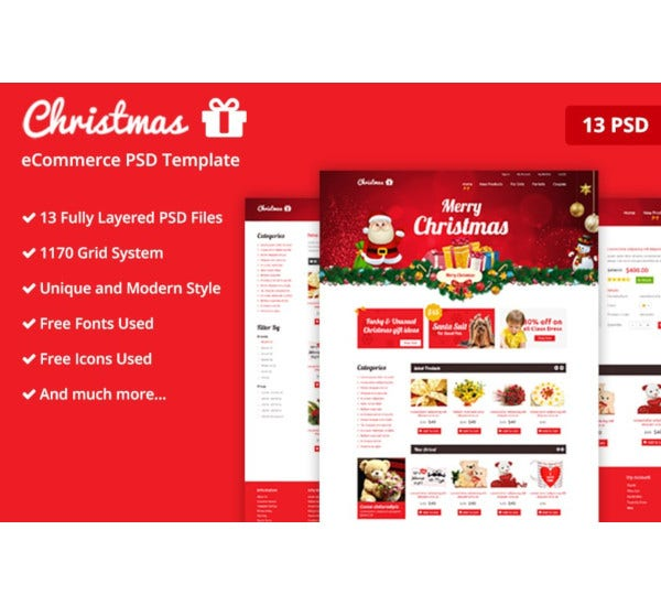 christmas ecommerce psd template