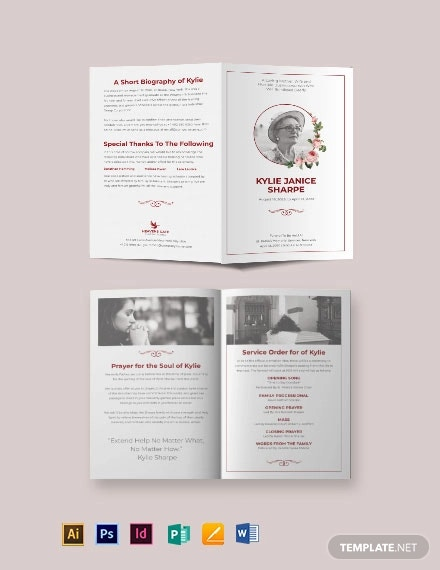 church eulogy funeral bi fold brochure template
