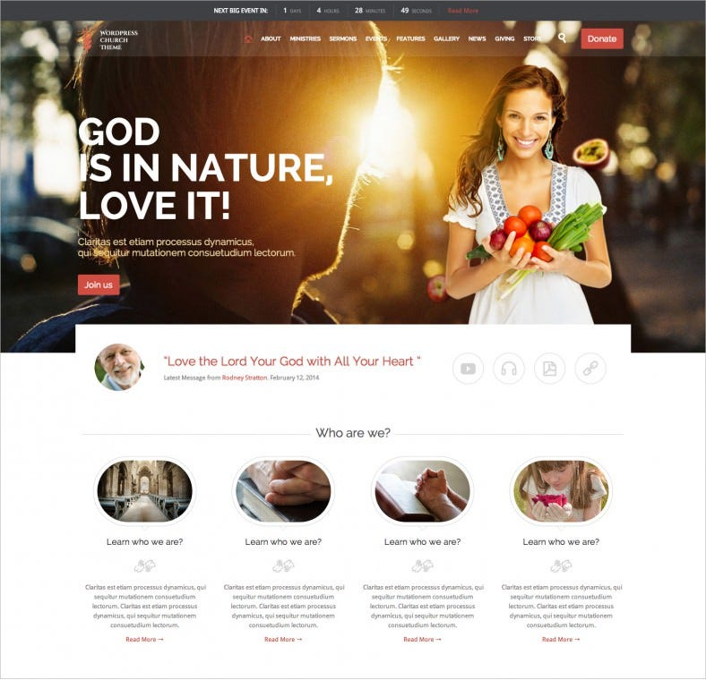 church and events wordpress 4