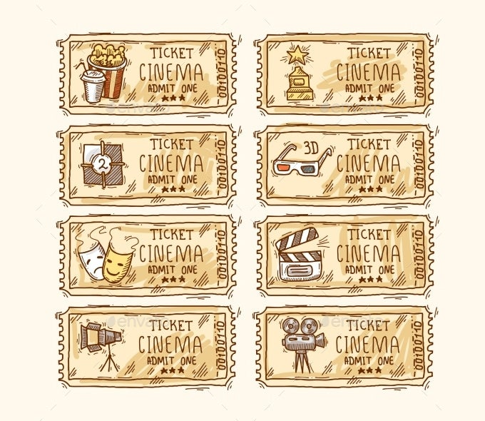 Cinema TIcket Set  Movie Ticket Template Free