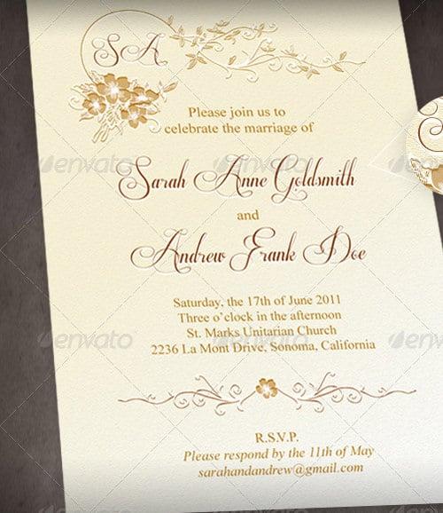 classic wedding menu template