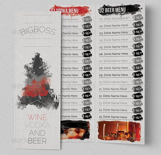 classy bar menu psd template