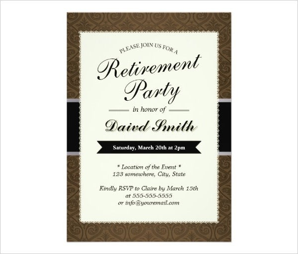 classy brown retirement party invitation