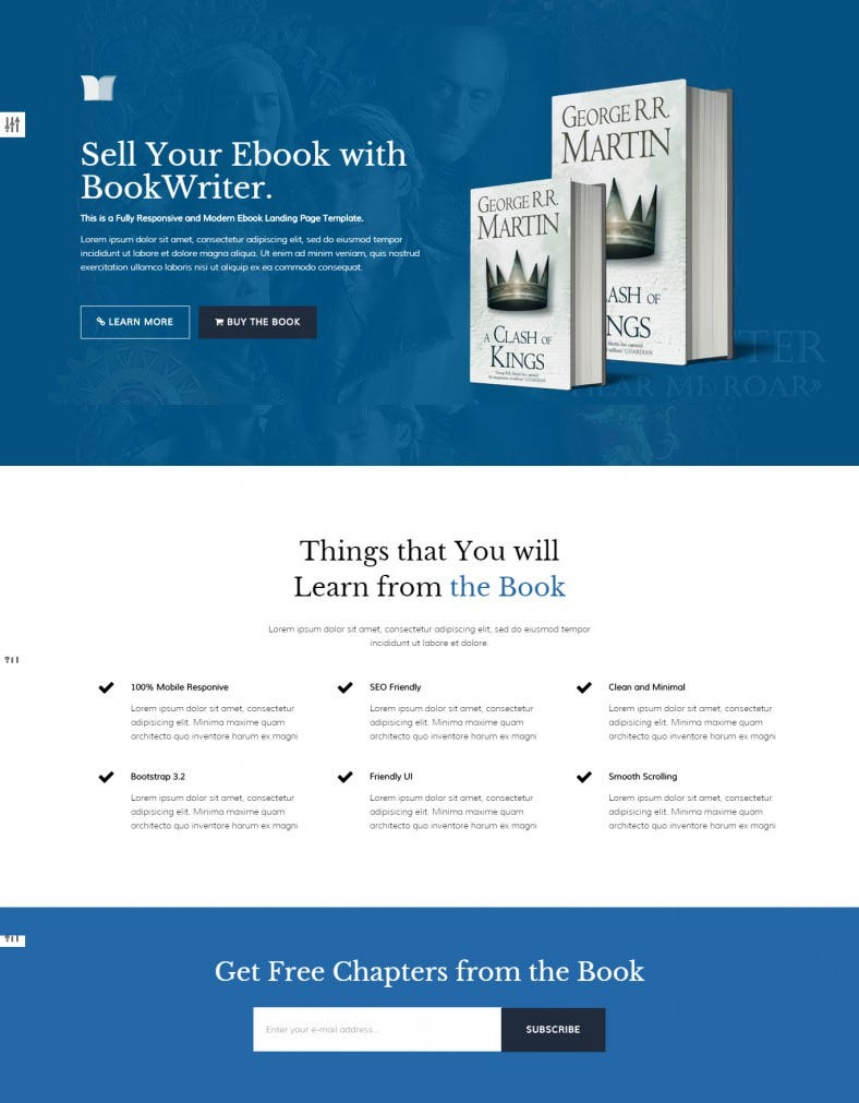 Clean And Minimal EBook Landing Page