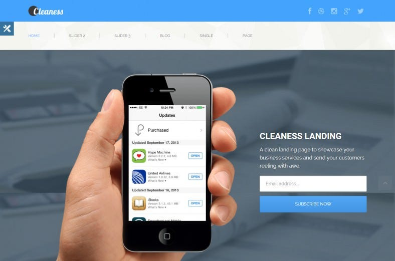 cleaness responsive business landing page 788x521