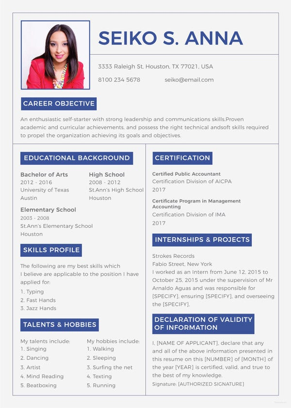 10 College Resume Template Sample Examples Free Premium