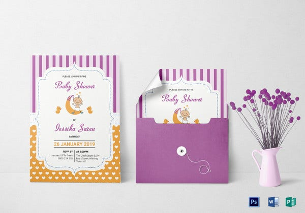 Colorful Baby Shower Invitation Card  Baby Shower Templates Word
