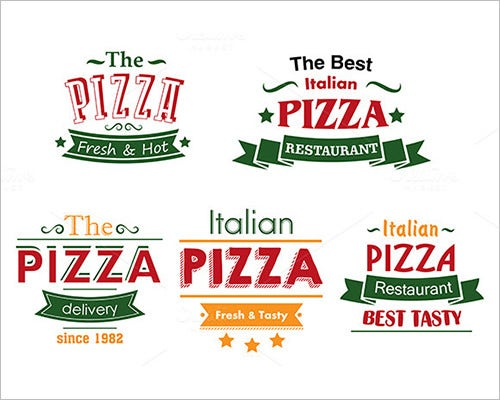 colourful pizza food label template