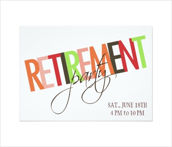 colourful retirement party invitation template