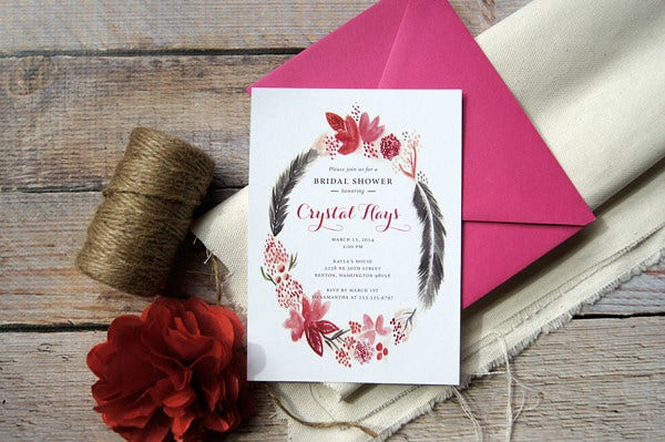 colourful wedding shower invitation template