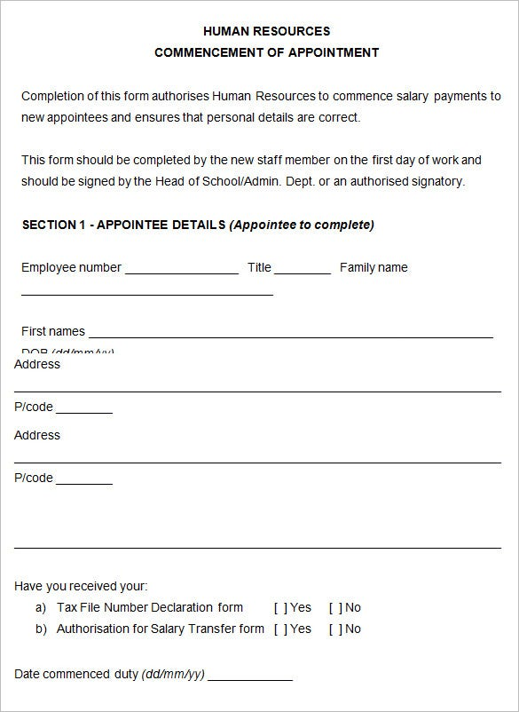 22 hr contract templates hr templates free premium for Human resource forms and templates