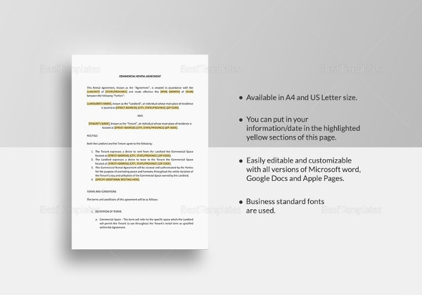 commercial rental agreement template2