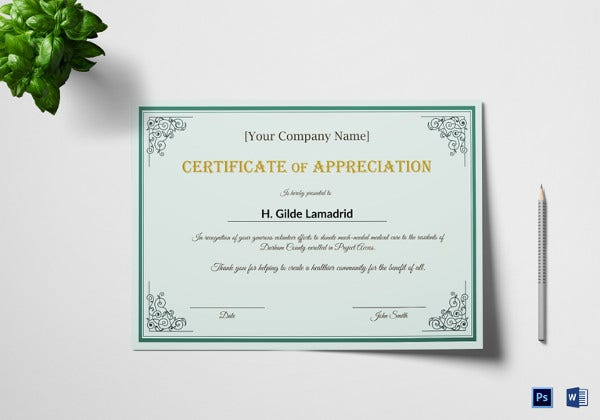 company employee appreciation certificate in word
