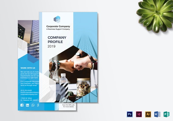 Company Profile Bi Fold Brochure Illustrator Template  Free Brochure Templates Word