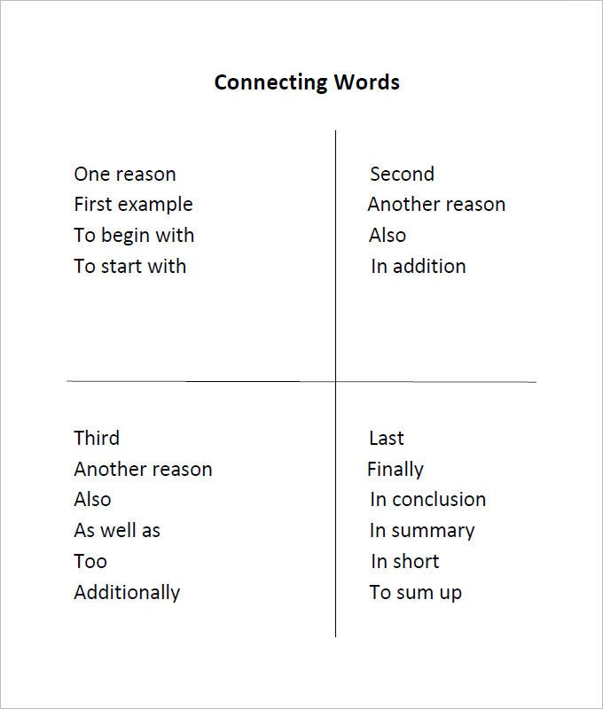 connecting words language art worksheet template