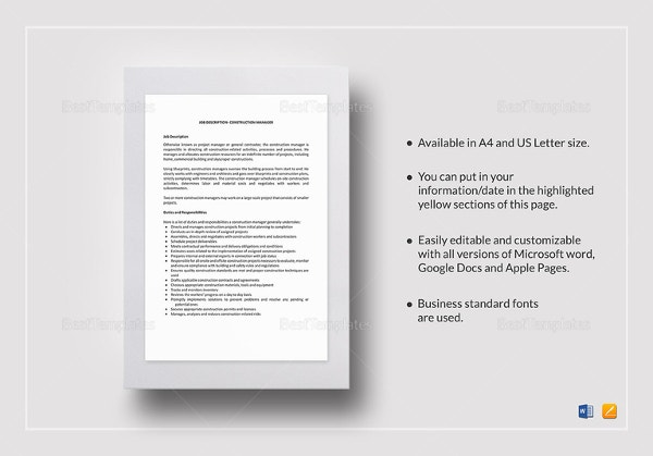 Construction Manager Job Description Template In IPages