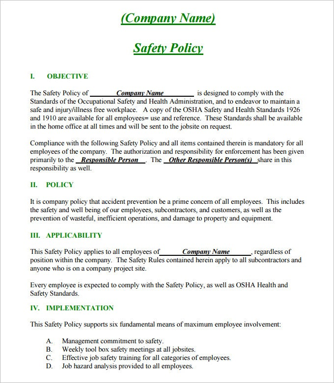 Safety Policy Template  SaveBtsaCo