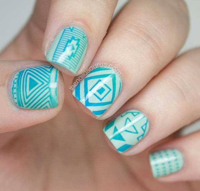 cool blue nail design