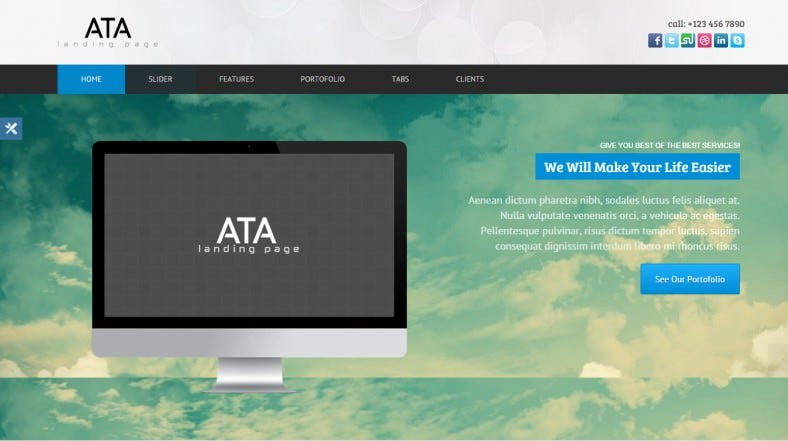 corporate landing page template with 8 color options 788x441