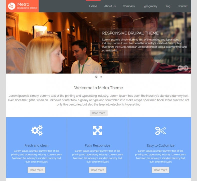Corporate and Small Business Drupal Template Free Download