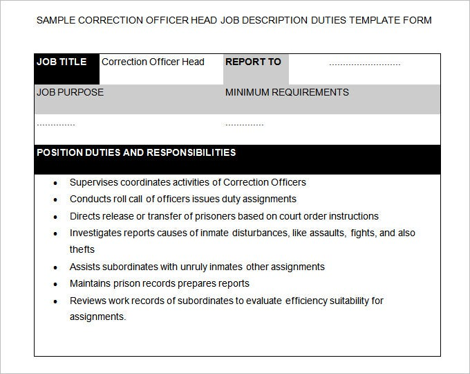 Correctional Officer Job Description