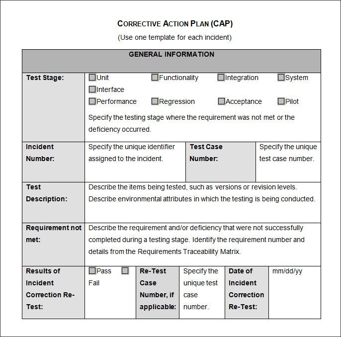 corrective action plan cap template
