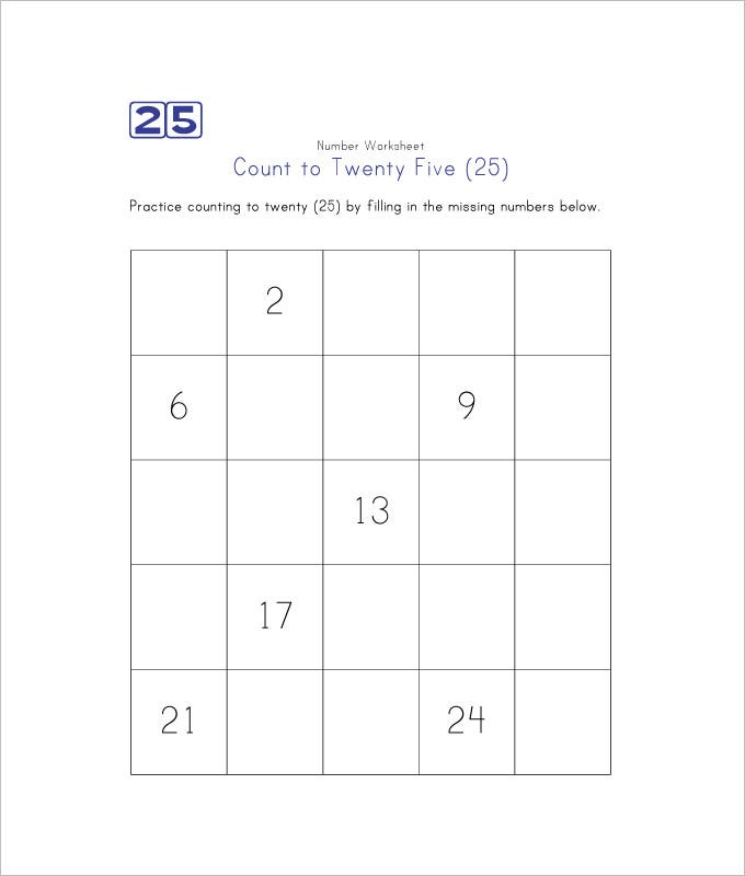 Sample Missing Numbers Worksheet Templates  Free Pdf Documents