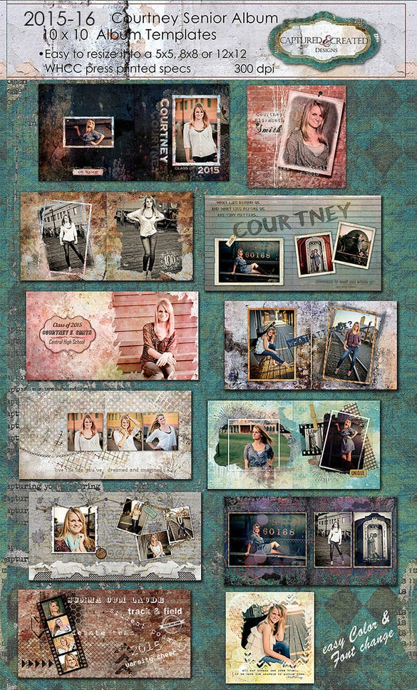 Courtney PSD Digital Album Template  Free Album Templates