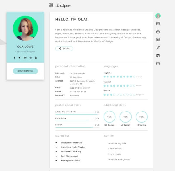 creative resume vcard theme