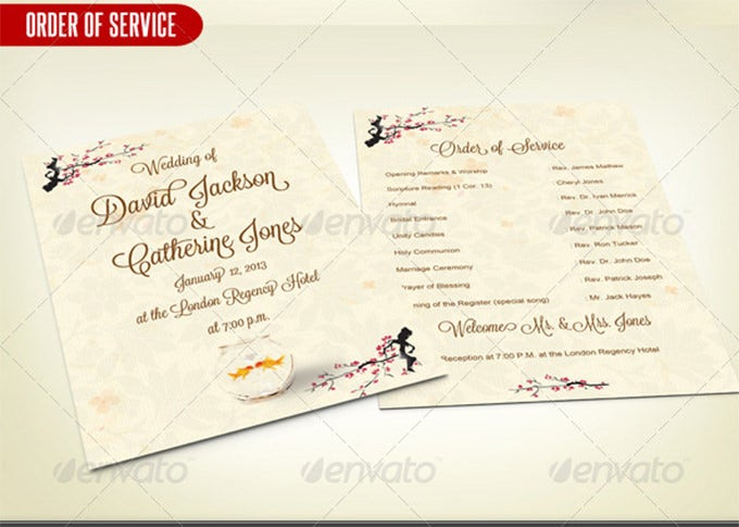 Creative Wedding Card Order Of Service PSD  Order Of Service Template Free