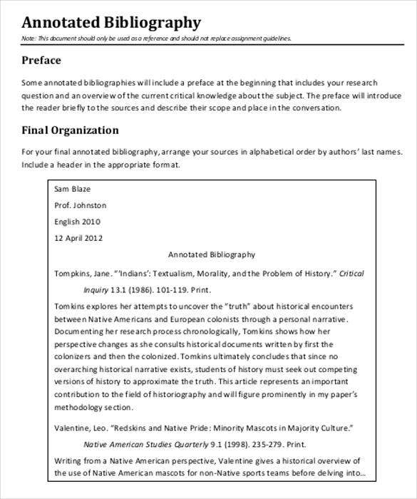 7 Annotated Bibliography Templates Free Word Pdf Format Free
