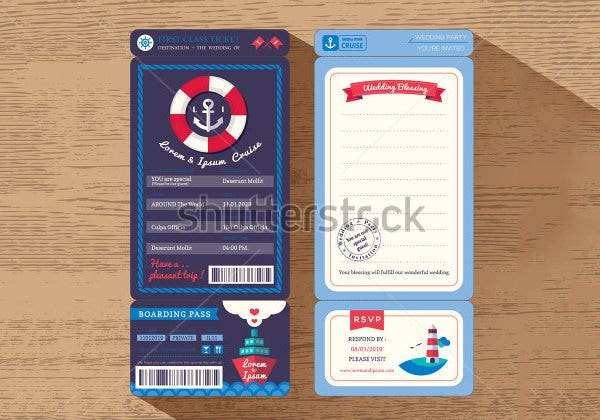 cruise ship boarding pass ticket wedding invitation