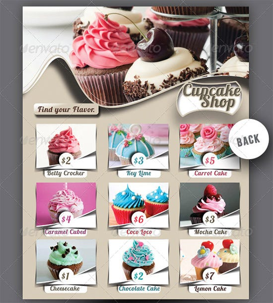 Cupcake Bakery Menu Template