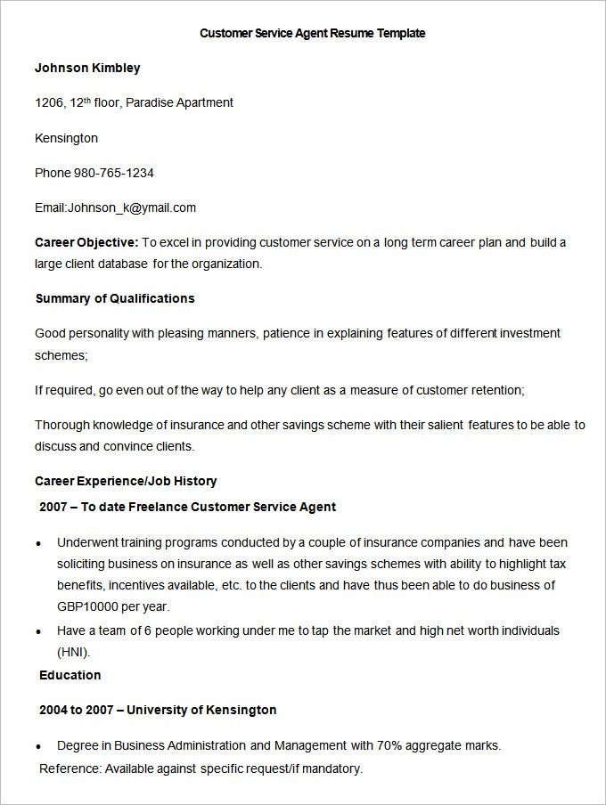 Customer Service Agent Resume Template. Free Download  Customer Service Objective