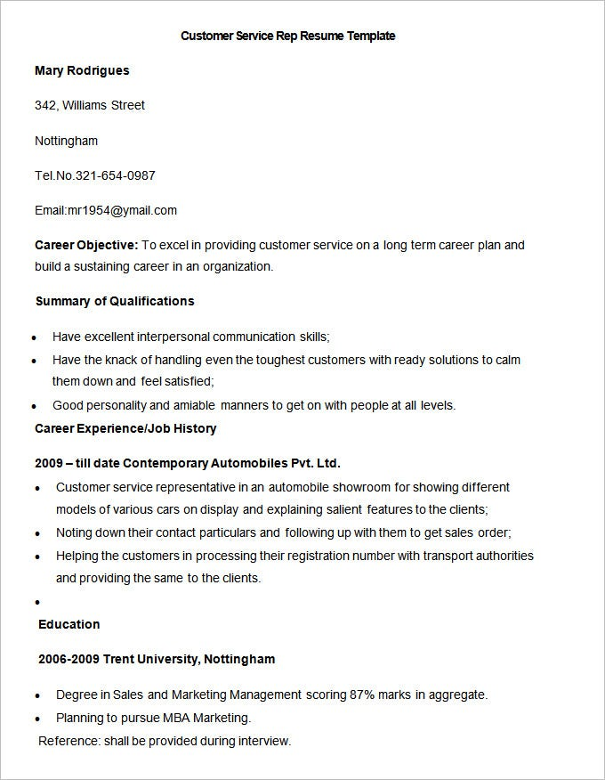Resume Sample For Customer Service | Sample Resume And Free Resume