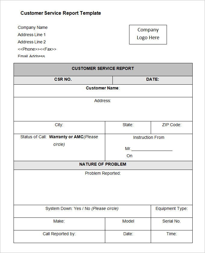 Sample Service Report. Service Report Template Word Service Report ...