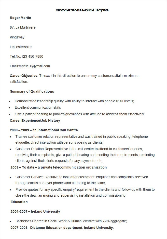 customer service resume template free download