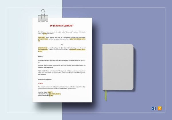 dj service contract for event