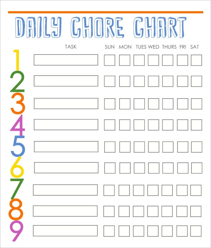 photograph regarding Chore Chart Printable Free called 9+ Loved ones Chore Chart Templates - PDF, Document, Excel No cost