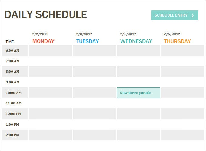 template daily schedule