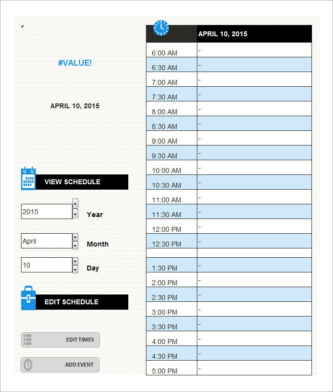 Daily Schedule Template 5 Free Word Excel PDF Documents – Daily Schedule Template