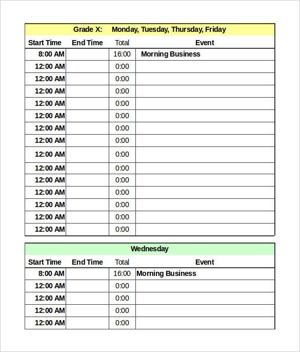Daily schedule template 34 free word excel pdf for Rtu time table 4 th sem 2015