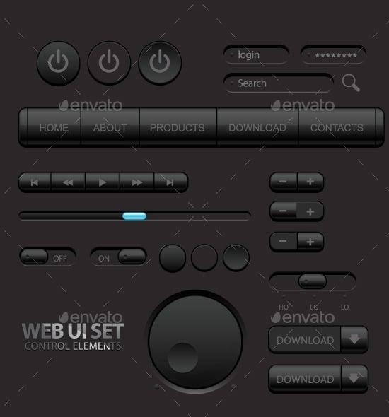 dark black web ui elements set
